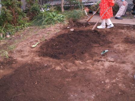 畑6堆肥混ぜる.JPG